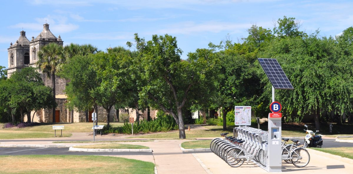 Mission Concepcion and its B-cycle station near the Mission Reach. Photo by Iris Dimmick.