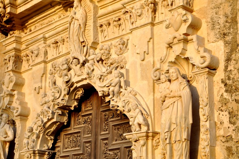 Detail of the door and facade of Mission San José. Photo by Iris Dimmick.