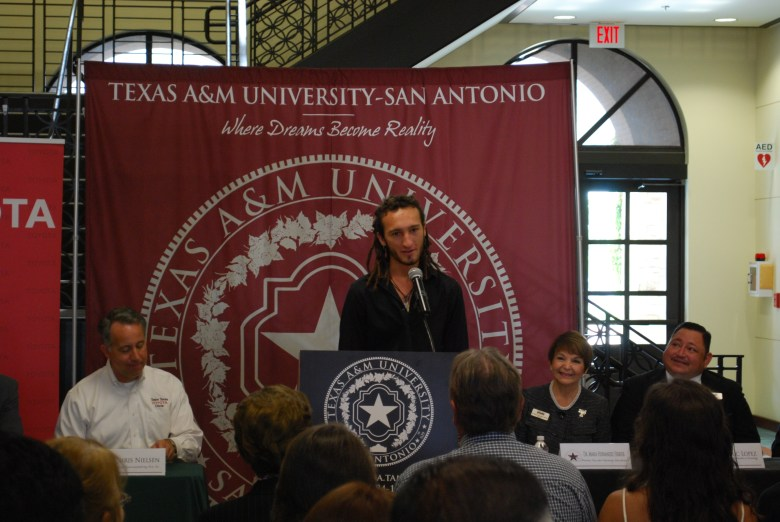 Thomas Seabers, recipient of the 2nd ever Toyota Texas Teacher Scholarship  delivers his first ever speech.