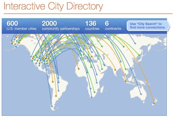 Sister Cities International's  interactive map at www.sister-cities.org. Click map to follow link.