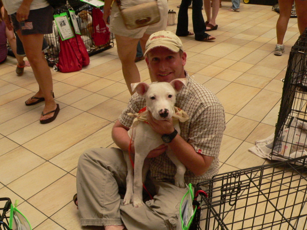 Love at First Sight, AAPAW Adoption Event 8-1-2009 at Rolling Oaks Mall.  The happiness on these two guys' faces says it all.