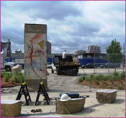 View of Berlin Wall segment gifted to Cincinnati by our German Sister City of Munich. The segment is placed in front of the National Underground Railroad Freedom Center. Photo courtesy Carla Walker.
