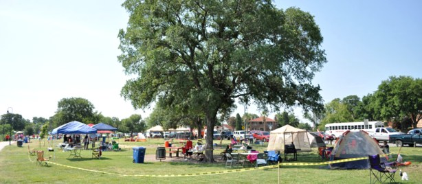 A valuable piece of real estate at Woodlawn Lake Park on the 4th of July. Photo by Annette Crawford.