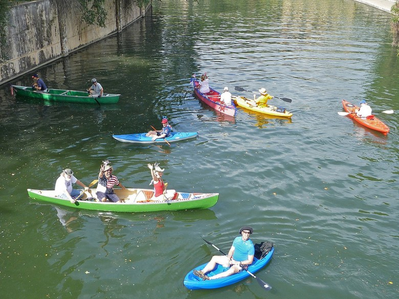 View of some King William Yacht Club Regatta paddlers from the Johnson Street bridge during last year's Fourth of July event. Photo by Miriam Sitz.