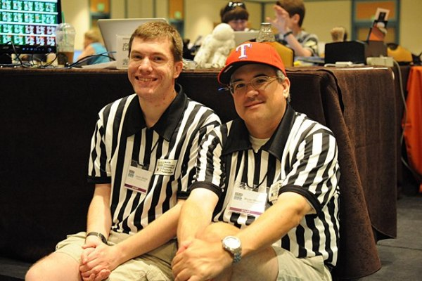 """""""Director, please"""": Jason Idalski and Bryan Pepper, in striped shirts, are an essential part of every tournament. Photo courtesy of NASPA."""