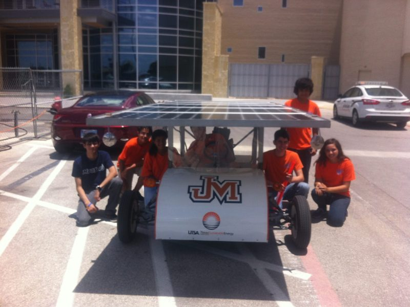 Dr. Joseph Dungan and his team from James Madison high school attended the forum and showed off their solar powered car. Photo by Elena Craft.