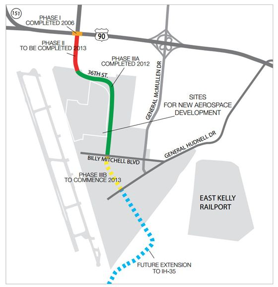 Thanks to the 36th Street extension at the Port, about 400 acres of land are now available at Kelly Field to build future facilities and parkways. Photo courtesy of Port San Antonio.