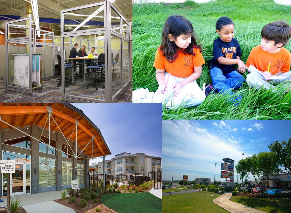 Brooks City-Base mixed use community includes office space, education facilities, residential communities and retail hubs. Courtesy Photos.
