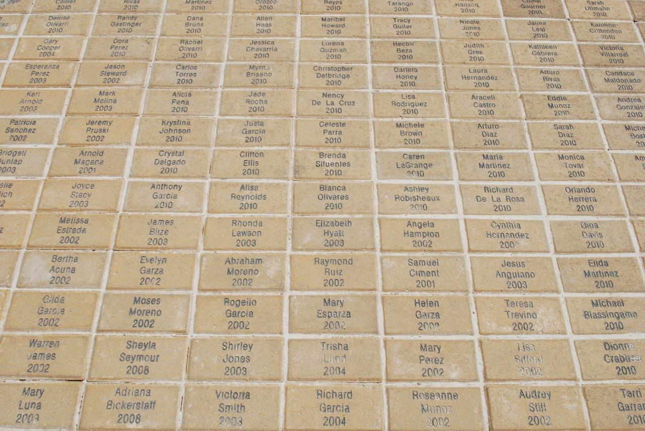 The first 5,000 graduates of Texas A&M-San Antonio receive a commemorative paver with their name and graduation date. Placed in ellipse on the West Lawn in front of the first building at the Main Campus, the pavers represent the foundation of the university.