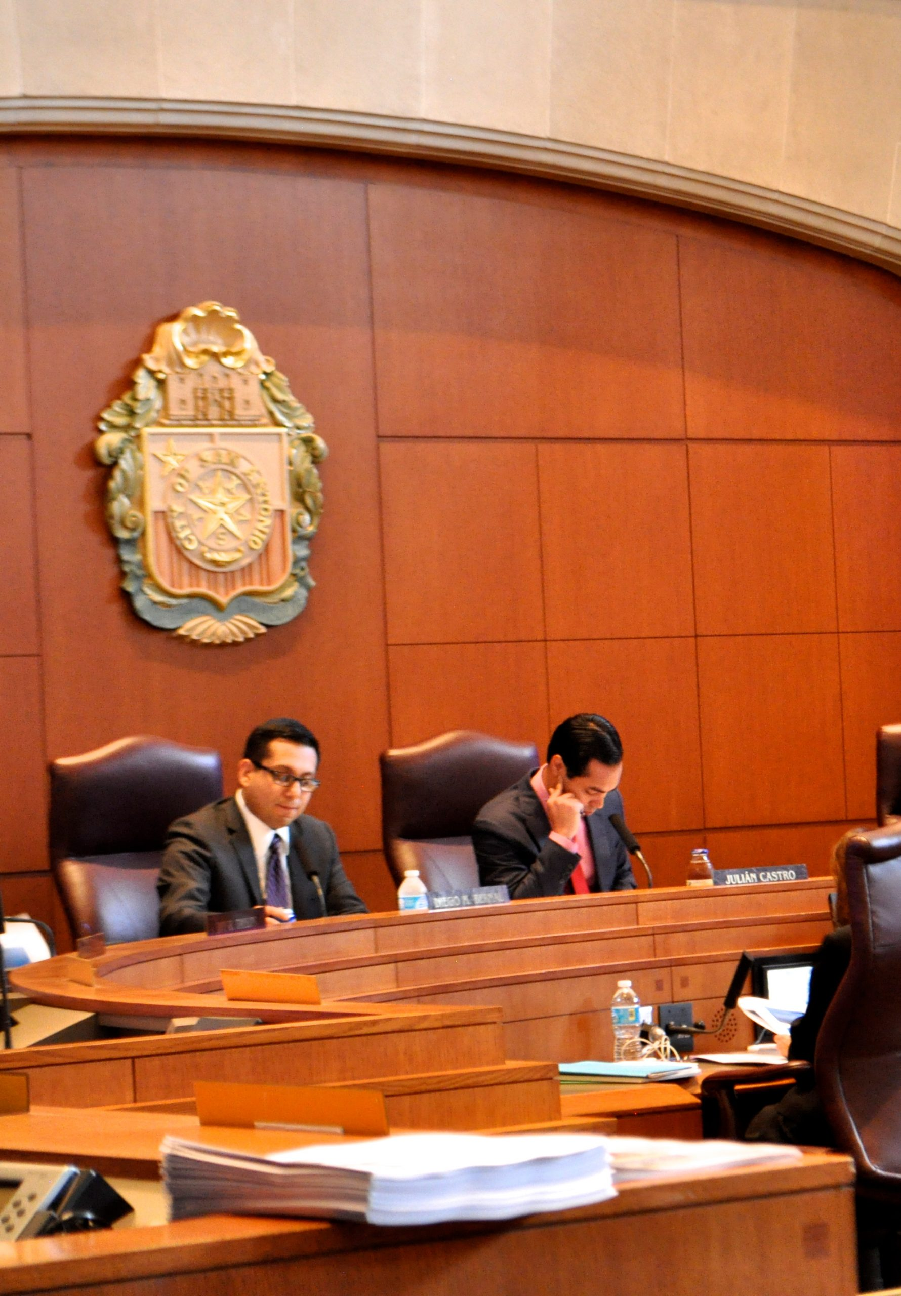 Councilman Bernal (left) and Mayor Castro listen while City Attorney Michael Bernard explains the NDO. Photo by Iris Dimmick.