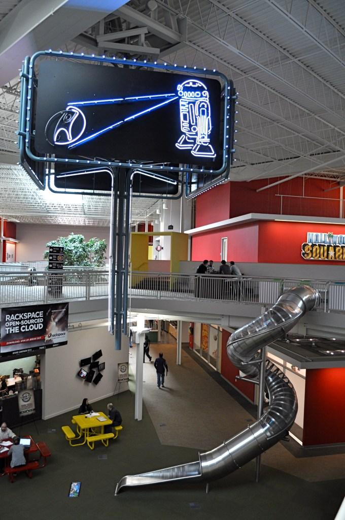 "The famous Rackspace slide at the ""Castle"" headquarters. Photo by Iris Dimmick."