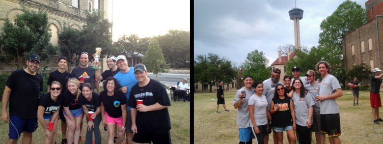 Winning teams from the inaugural fall 2012 season (Kichelob Ultra, left) and spring 2012 (Southtown Deflatables, right). Photos courtesy of Downtown Kickball.