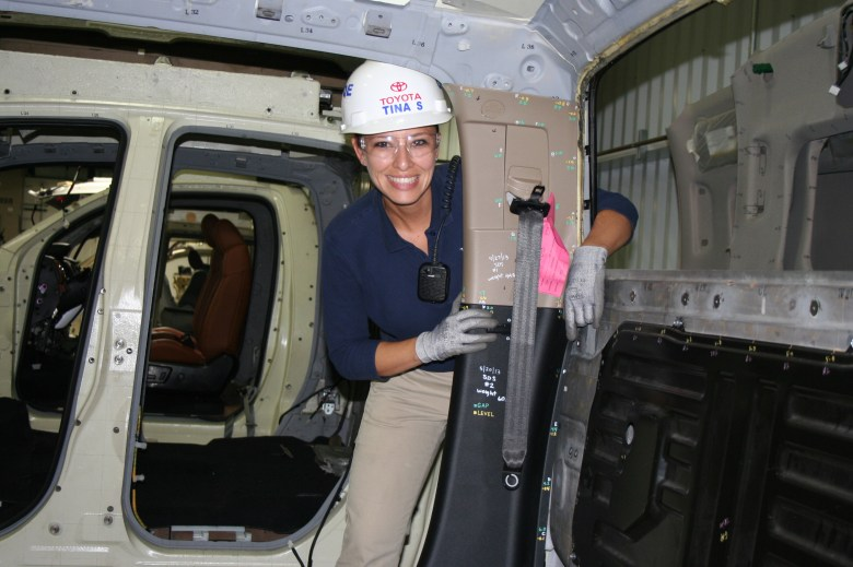 Southside native and engineer Tina Salazar working on the Toyota Tundra manufacturing line in the Southside, San Antonio. Photo courtesy os Toyota Texas.