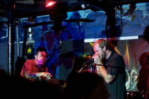 PunkSoda and Thigpen during a full band performance at The Pedicab in San Antonio.