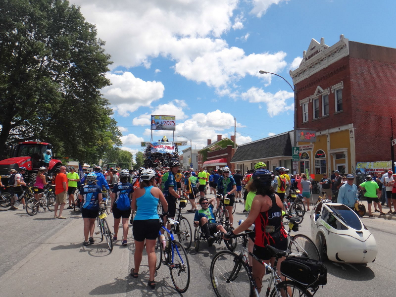 West Point, Iowa, the last rest stop before the finish line. Photo by TJ Kent.