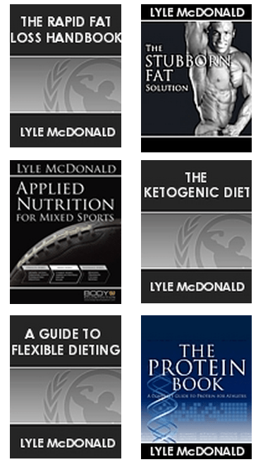 A sample of some of Lyle McDonald's books.