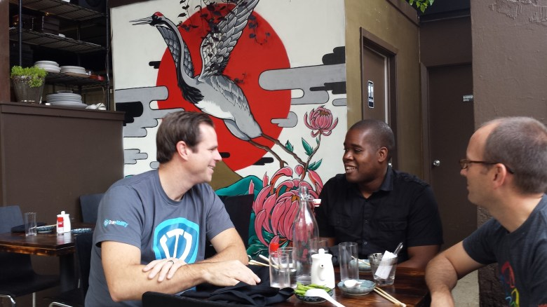 The TrueAbility gang takes a break from their office within Geekdom enjoys a lunch a Kimura. Photo by Winslow Swart.