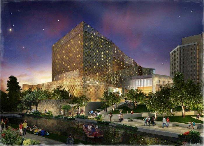 Rendering of the Tobin Center's River Walk Event Plaza. Courtesy rendering.