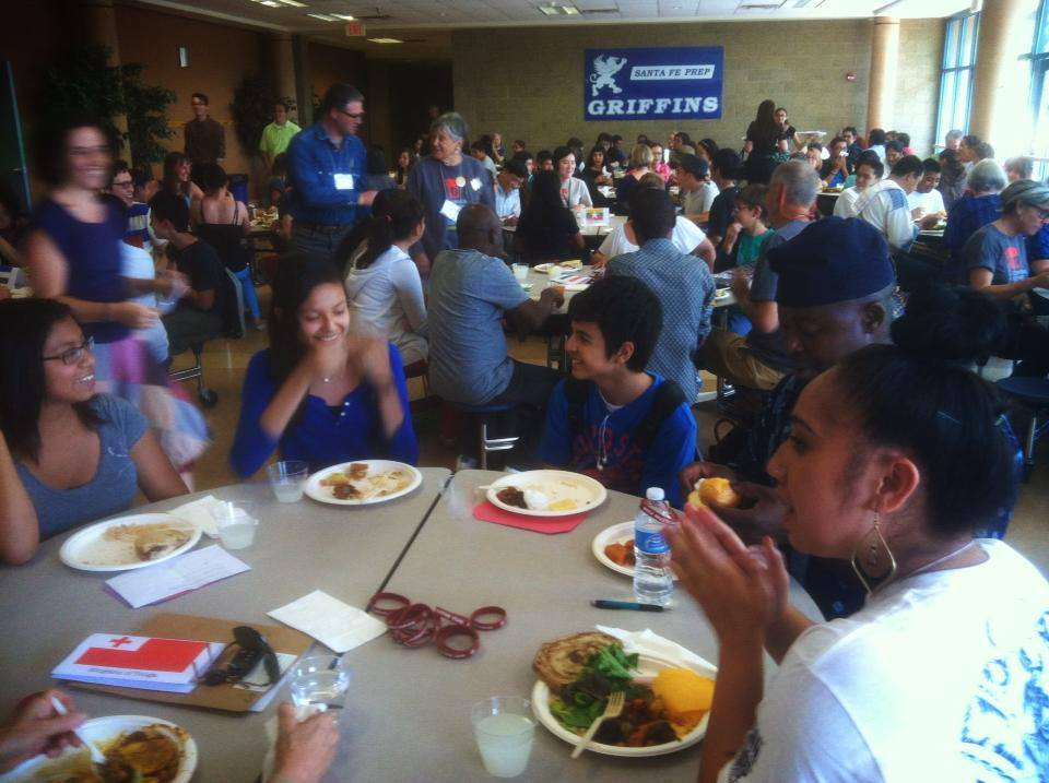 Every year, Breakthrough Santa Fe students get to have lunch with folk artists from around the world meeting in Santa Fe for the Folk Art Market. Photo courtesy of Breakthrough Santa Fe.