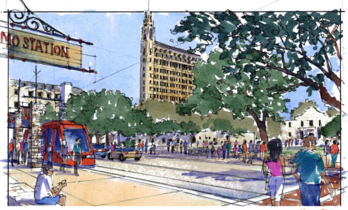 An artist's rendering of a streetcar running through Alamo Plaza. This route option has largely been dismissed due to its proximity to the Alamo cathedral. Courtesy rendering from VIA.