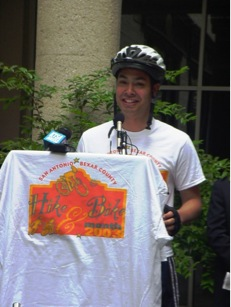 Long before he was elected as Mayor in 2009, former District 7 Councilman and BMTF Chairman Julián Castro addresses a crowd gathered to promote the 2003 Hike and Bike Month. Courtesy of Scott Ericksen.