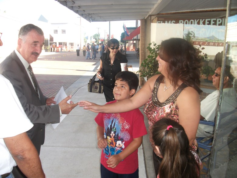 Congressman Rodriguez meeting with constituents while visiting Alpine Texas in 2010. Photo by Jaime Solis.