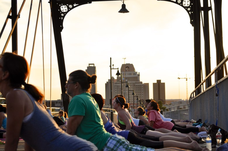 Yoga with a view from the Hays Street Bridge. Photo by Iris Dimmick.