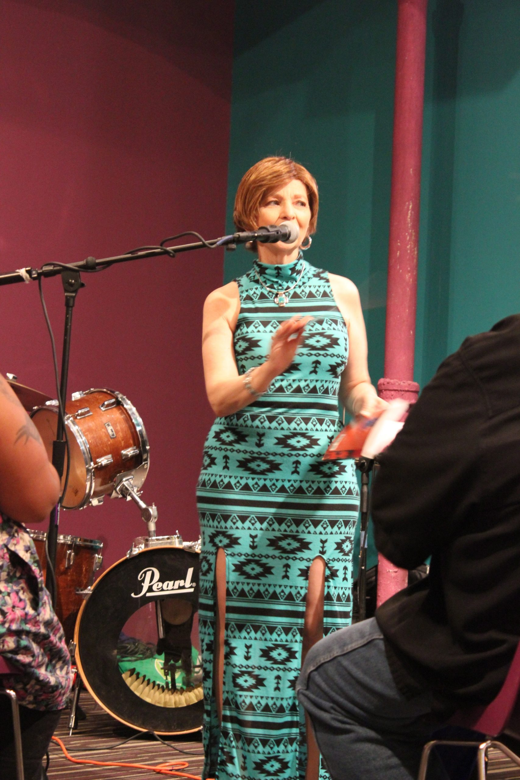 Inaugural San Antonio Poet Laureate Carmen Tafolla speaks at the 100 Thousand Poets for Change event at Gemini Ink. Photo by Melanie Robinson.