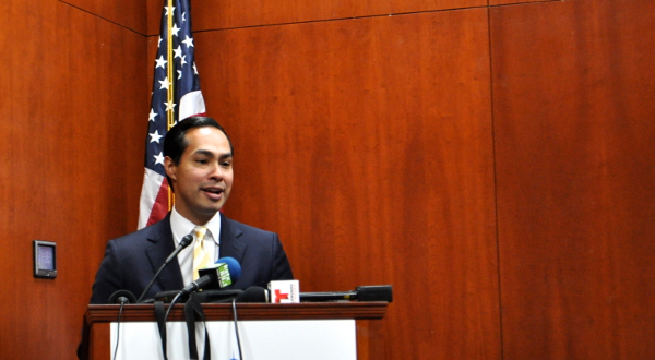 """Mayor Julián Castro describes why San Antonio is an """"Enterprising City"""" – by keeping regulation and tax burden low on businesses. Photo by Iris Dimmick."""