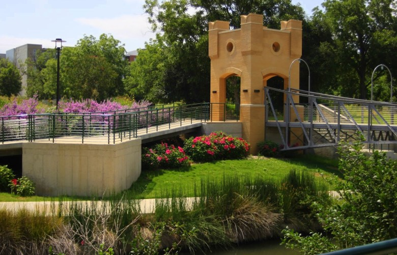 A repurposed bridge spanning the river on the Museum Reach, near The San Antonio Museum of Art. Photo by Jeff Reininger.