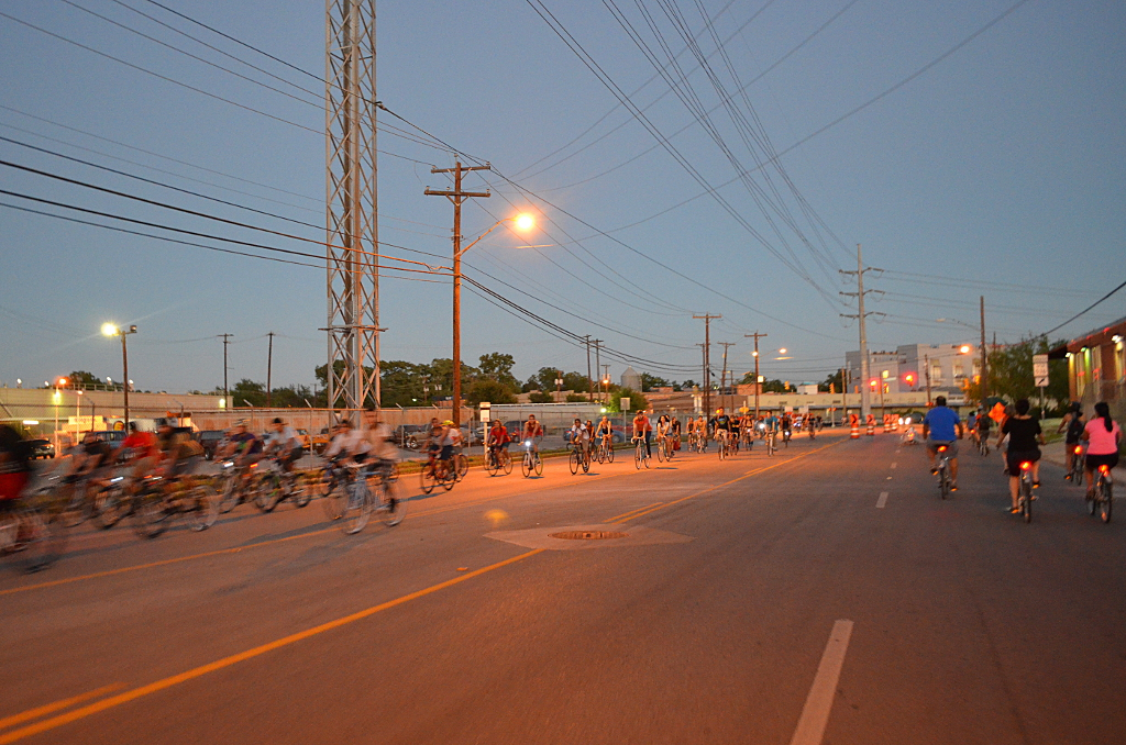 Two bike ships passing in the night. Something Monday (right) meets Zombie Bike night(?). Photography by Cooksterz.
