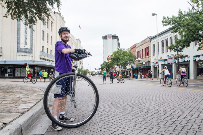 """""""It's nice to seeing people about,"""" said Matthew Kuhfahl. Why a unicycle? """"Growing up my dad was stationed in Japan, Id see them around. I saw them in a store I knew i had to have one. Started riding unicycles in '91."""" Photo by Steven Starnes.."""