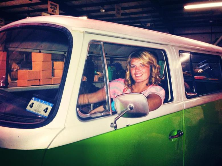 Cassandra Fauss and the Mobile Om van. Photo courtesy of Mobile Om's Facebook page.