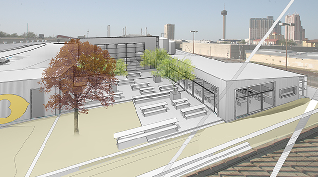 View of future Alamo Beer brewery from Hays Street Bridge. Rendering courtesy of Lake/Flato Architects.