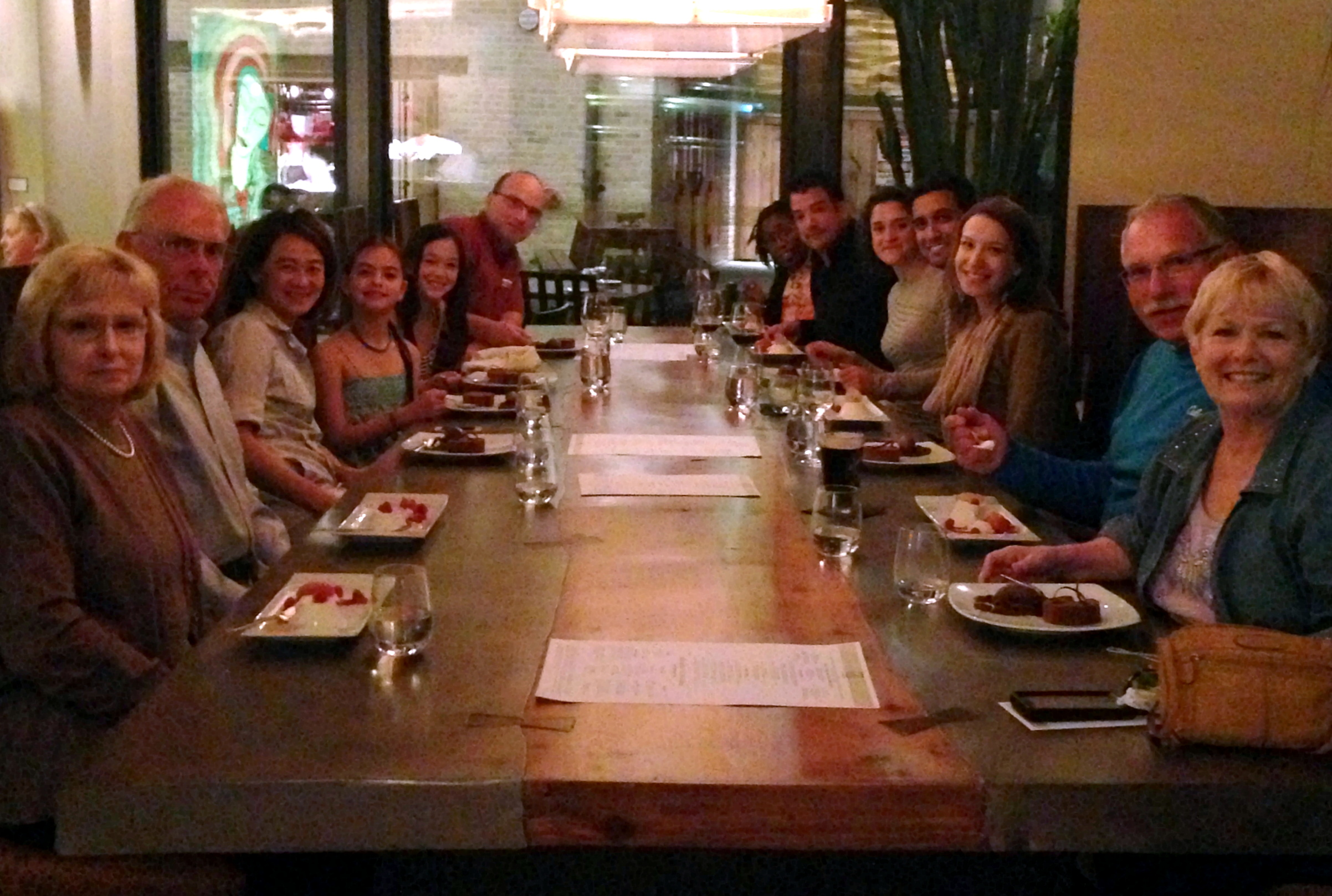 Class and guests enjoying a dinner at Nao, the CIA's student-staffed restaurant at the Pearl Brewery complex.
