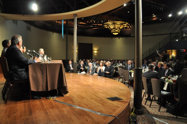 The experts selected for the Water/Energy Nexus Forum sit front and center to ask the panel questions. Photo by Iris Dimmick.