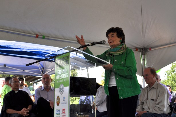Former Mayor Lila Cockrell, 91, addresses the crowd gathered for the Mission Reach opening ceremony. Photo by Iris Dimmick.