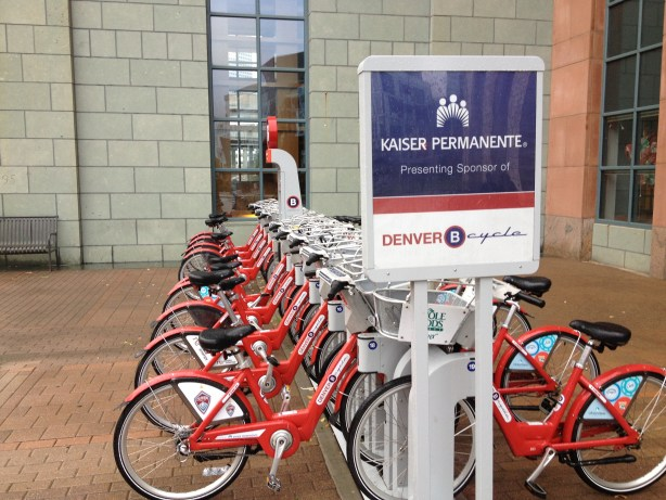 Denver's B-cycle program enjoys strong corporate sponsorship, still missing in San Antonio's otherwise highly successful bike share program. Photo by Robert Rivard