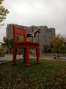 Give that horse a chair. Denver Art Museum in the background. Photo by Robert Rivard