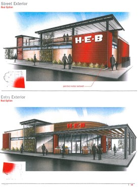The top image is the street-facing front of the proposed store. The bottom image is the parking-lot facing rear of the proposed store. Image from H-E-B's proposal.