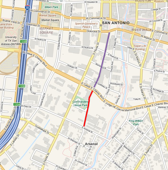 The red line on S. Main Avenue represents the one block closure being sought by H-E-B. The purple line represents the proposed new pedestrian way that would be closed to vehicle traffic. Image by Charlotte Luongo.