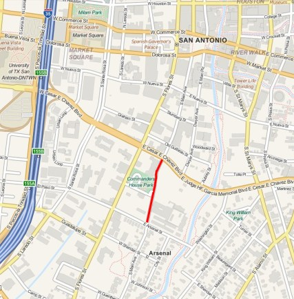 The red line indicates the section of Main Avenue that H-E-B has requested to close in the event of opening a downtown grocery store. Image by Charlotte Luongo.