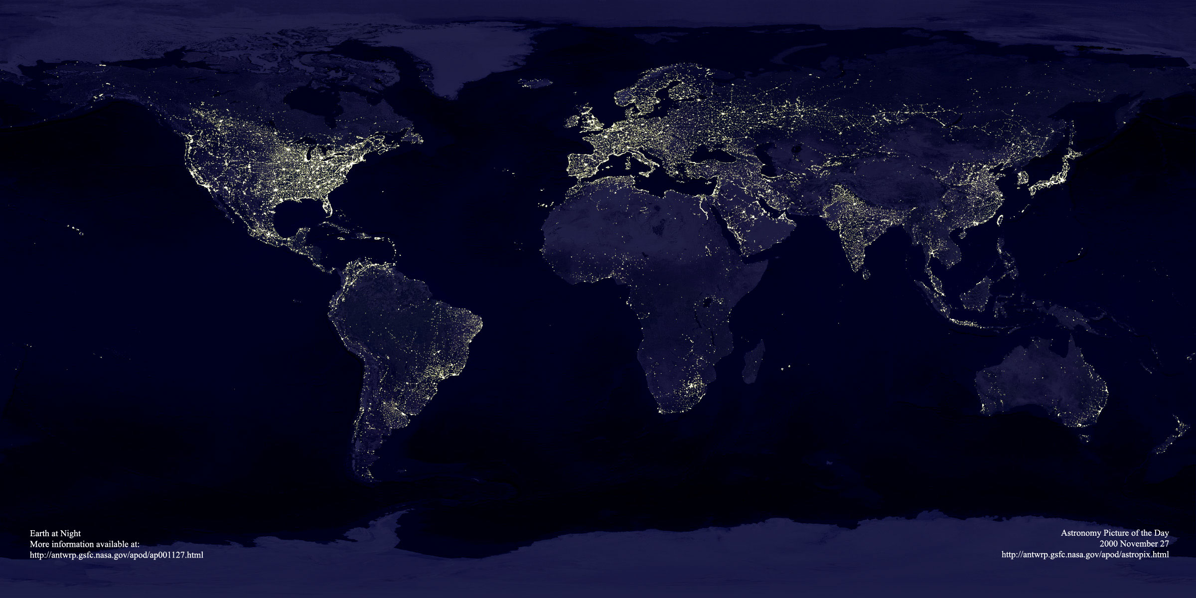 Earth at Night, Nov. 27, 2000. Credit: C. Mayhew & R. Simmon (NASA/GSFC), NOAA/ NGDC, DMSP Digital Archive.
