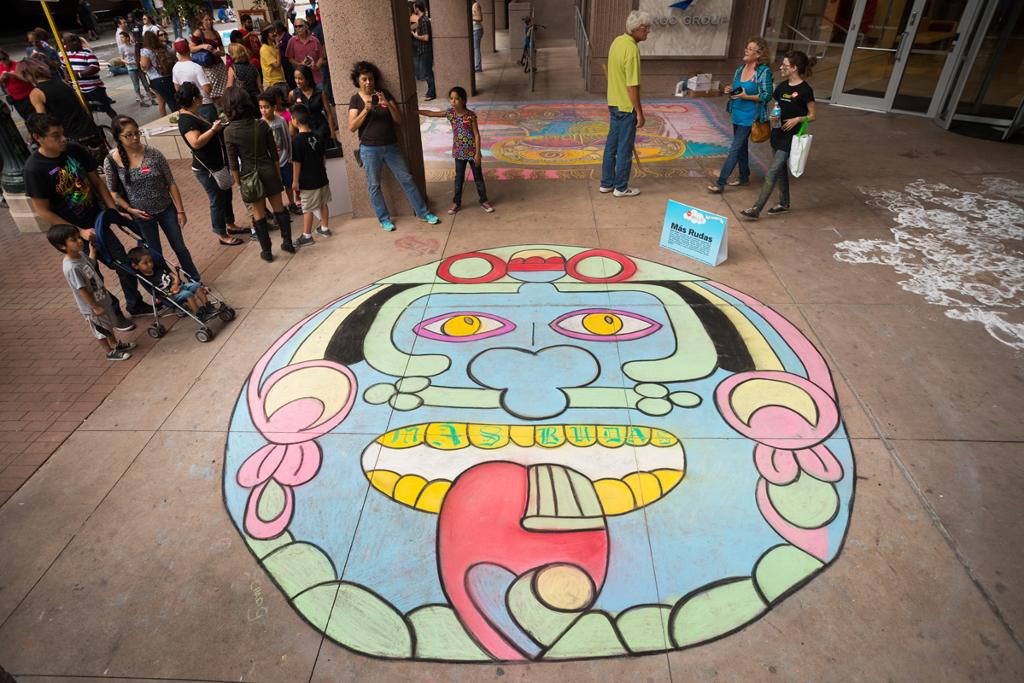 Showcase artist mural by local artist collective, Mas Rudas.