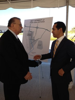 Port SA CEO Bruce Miller (left) and Mayor Julián Castro after the opening ceremony of 36th Street. Photo by Robert Rivard.
