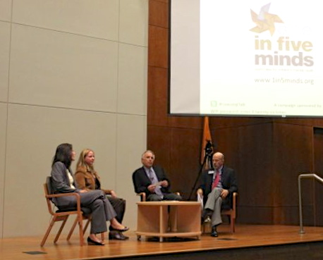 On the panel from left to right: Dr. Soad Michelson, MD and Medical Director at Clarity; Liza Long; Robert Rivard; and Fred Hines, President and CEO of Clarity. Photo by Sarah Hedrick.