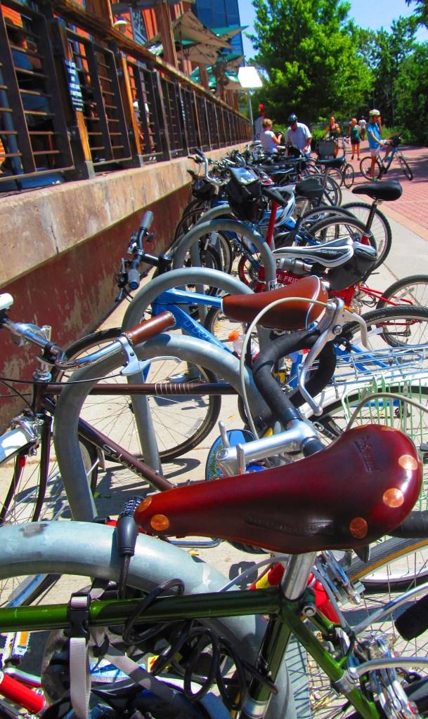 A heavily utilized bike rack in Colorado.