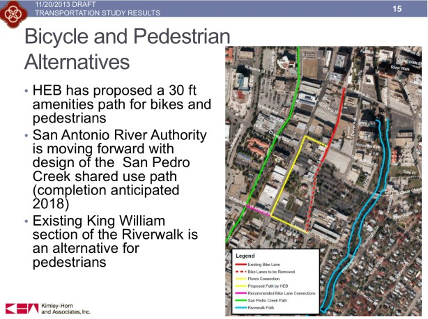 """In order for the closure of South Main Avenue to have minimal impact on surrounding traffic patterns, several improvements must be made by H-E-B. The most prominent of which is the 30-foot """"amenities"""" path for bikes and pedestrians on South Flores Street."""