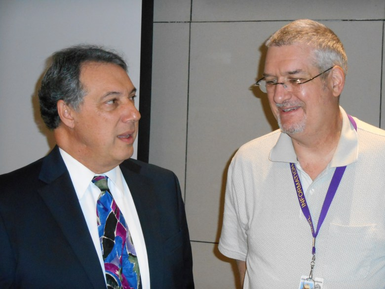 U.S. Air Force Historian Rudy Purificato and Librarian Matt De Waelsche at the Central Library auditorium. Photo by Don Mathis.