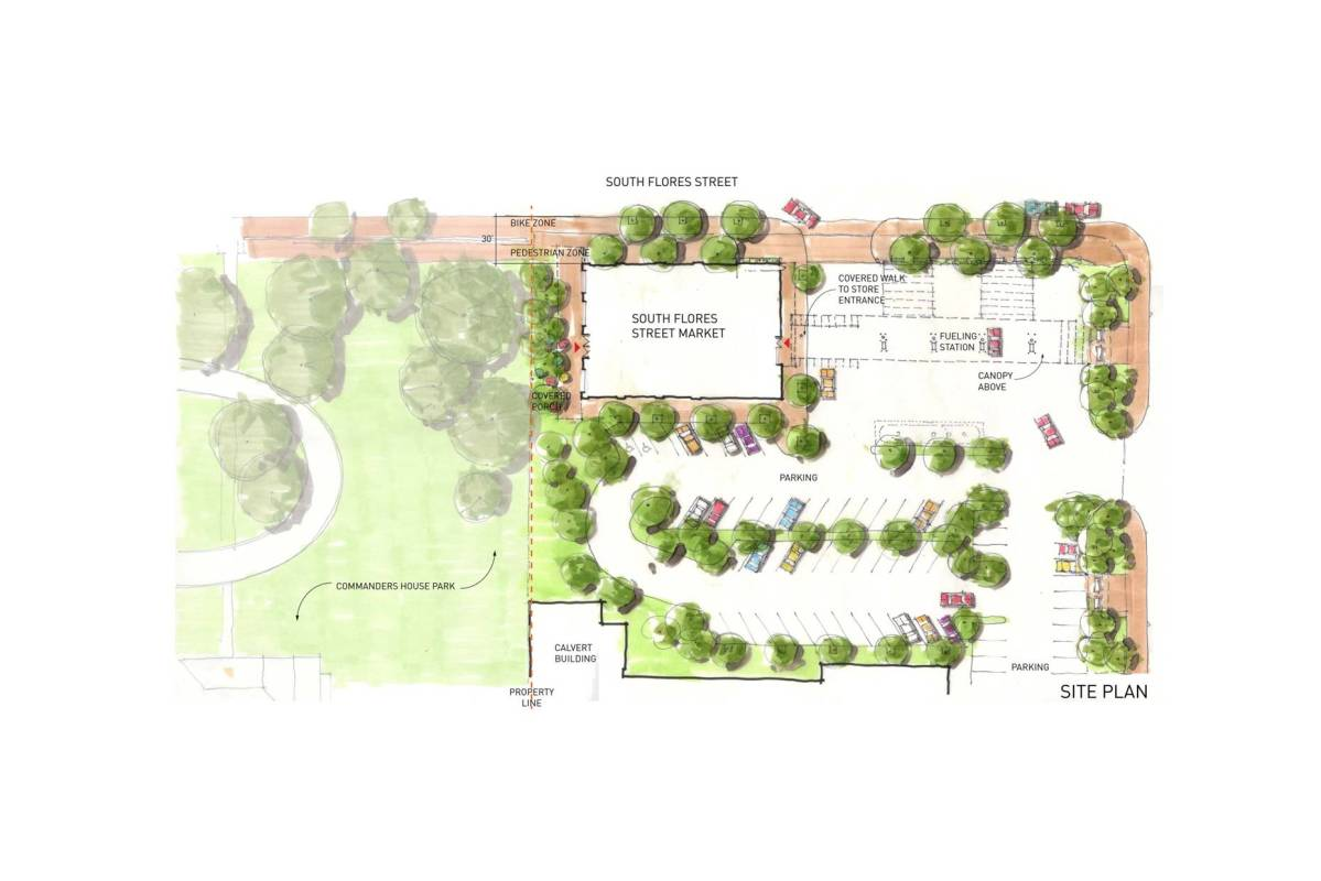 """H-E-B's proposed """"Flores Market"""" site plan courtesy of Lake/Flato Architects."""